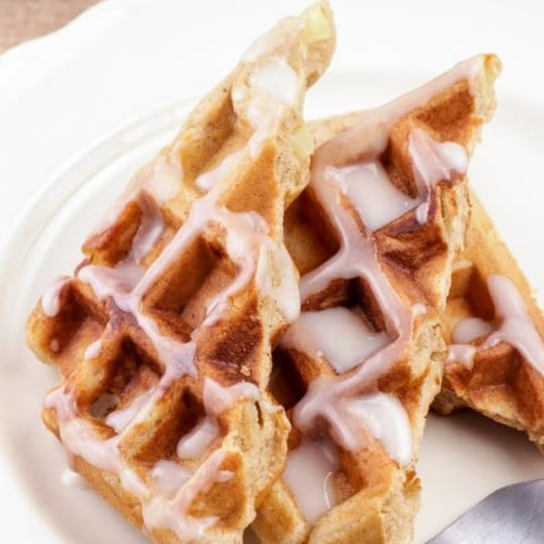 Easy Waffles – Best Homemade Glaze Apple Fritter Waffle Recipe – {Easy} Breakfast – Dinner – Snacks – Desserts – Quick – Simple