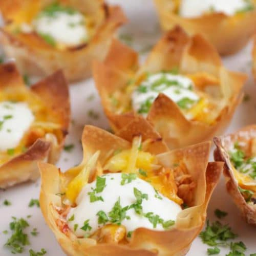 Easy Mini Chicken Enchilada Wonton Cups – Best Homemade Chicken Enchilada Recipe – Finger Food – Appetizers – Snacks – Party Food – Quick – Simple