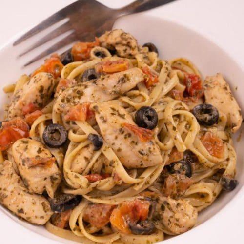 Easy Mediterranean Diet Pesto Chicken Pasta - Best Pasta Recipe