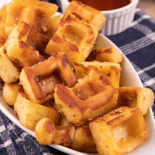 Easy Waffles – Best Homemade Mini French Toast Waffle Sticks Bites Recipe – Breakfast – Desserts – Snacks – Quick – Simple